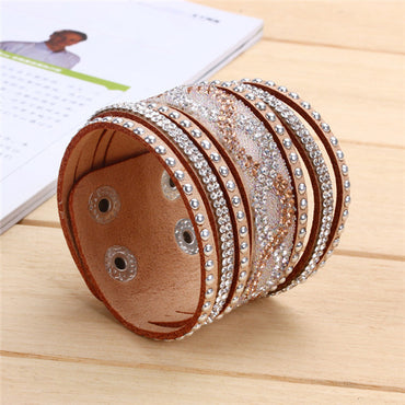 New Fashion Brown Purple Velvet Leather Wraped Bracelets