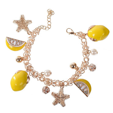 New Arrival Starfish Pendant Lemon Fruit OL Style Bracelet For Women