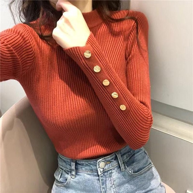 New Women Sweater High Elastic Solid O Neck Spring Summer