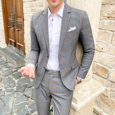 Fashion New Men's Suit Black Gray Cool Handsome Plaid Suit with Pant