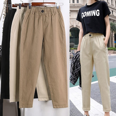 Beige High waist Casual Pants Women