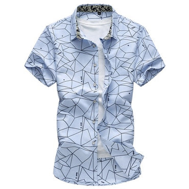 2020 Summer New Men Shirt Fashion Plaid Printing Male Casual Short Sleeve