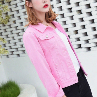 New Women's Jacket Light Blue Bomber Short Jeans Jacket Casual Outwear