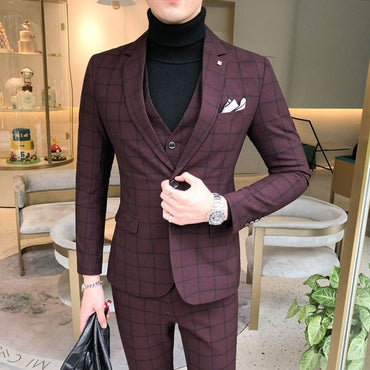 British 3Piece Men Suit Autumn Winter New Wedding Suits For Men