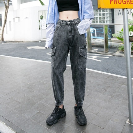 High Waist Jeans Women Cargo Pants Fashion Casual Washed