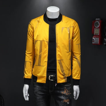 2020 New men jacket Pattern letter baseball jacket men zipper coat