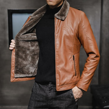 New Thick Leather Jacket Mens Winter Autumn