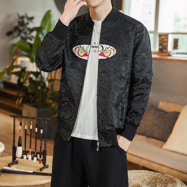 Men's Embroidery Zipper Jackets Loose Outerwear Vintage