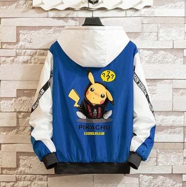 Spring Autumn New Men Jacket Pokemon Pikachu Printing Casul
