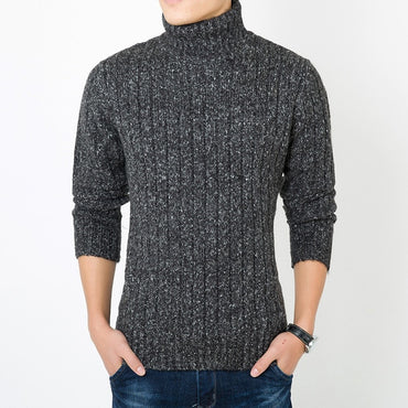 New Men's Sweater Thickened Turtleneck  Pure Color Leisure Sweater for Male