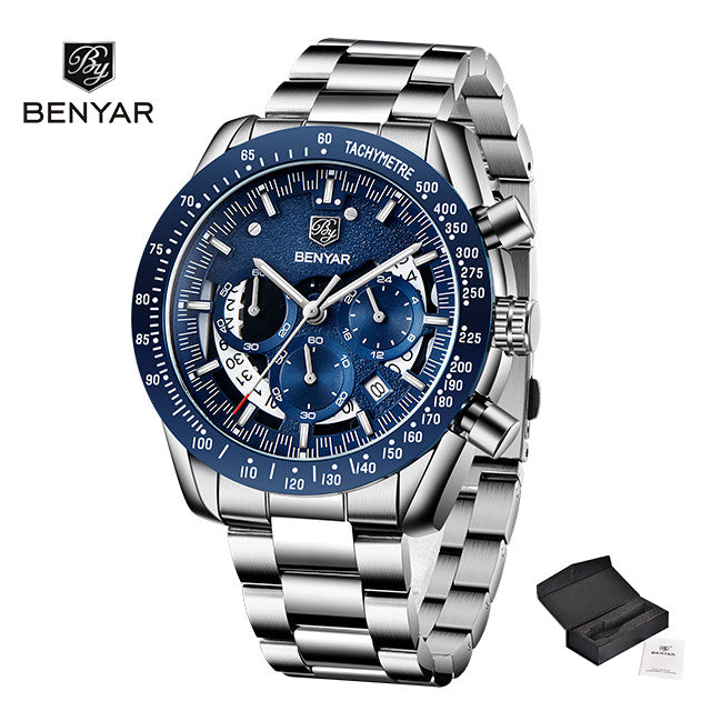 New Mens Watches Top Brand Luxury Stainless Steel Blue Quartz Watch