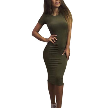 Women Pure Color Tight Fitting Round Collar Short Sleeve Dress Best Selling
