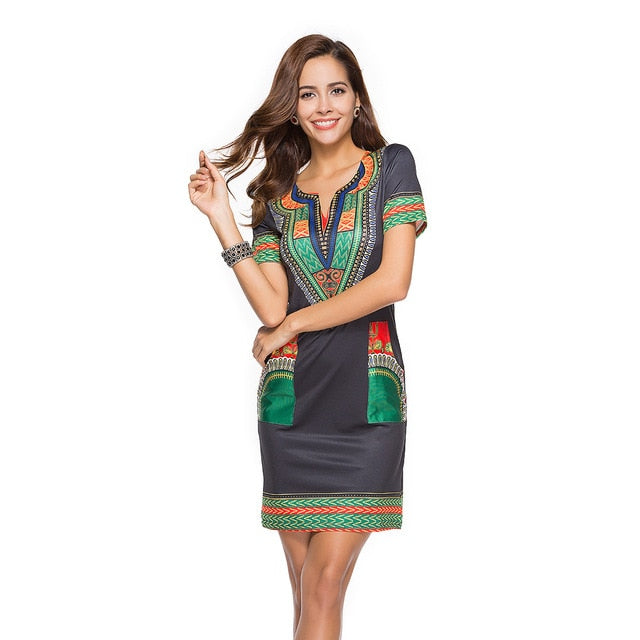 Best Selling Tight-fitting Ethnic Style Print New Women's Dress Summer V-neck Casual Dress