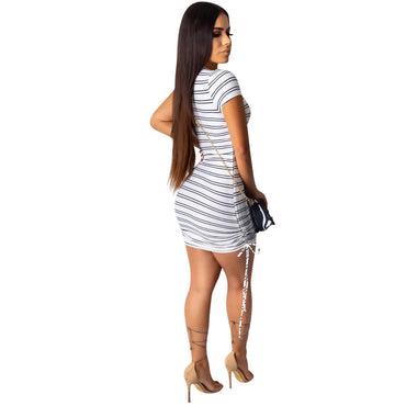 Summer new women's dress nightclub casual striped  best selling dress