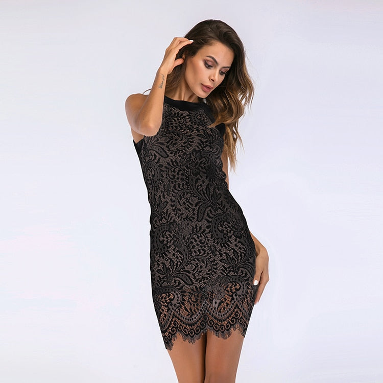 Best selling new women's lace dress hanging neck hook flower hollow