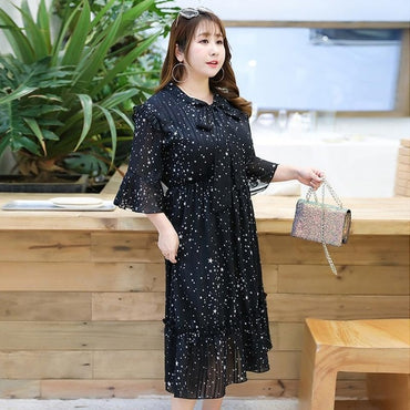 XL-4XL 2020 Spring New Large Size Chiffon Dress Women