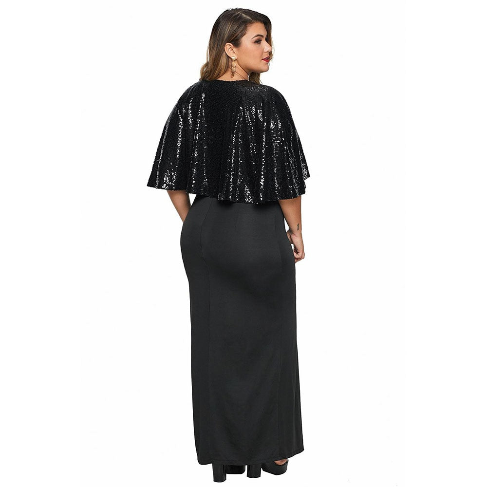 New Woman Plus Size Maxi Long Dress + Sequined Cape for Party