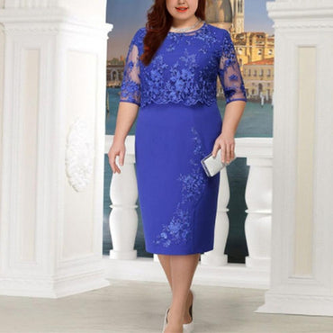 New 5XL Women Summer Autumn Big Size Dress Elegant Lace Dress Female Large Size