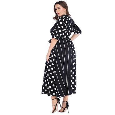 2020 Summer New Plus size Maxi Striped Dress Women