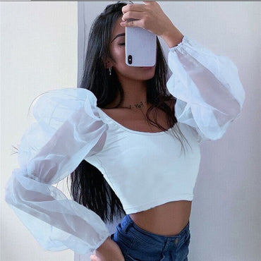 New Style Crop Top Fashion Women Tank Tops Mesh Sleeve