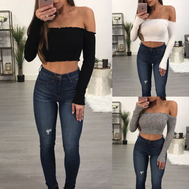 Summer Women Cotton Knitted Knitwear Crop Tops