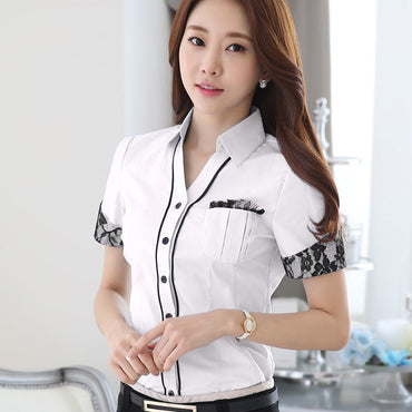 Elegant Shirt Women Clothes 2020 New Short Sleeve White Blue Lace Blouse