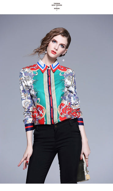 Summer New Women Blouse Full Sleeved Tum-Down Collar Shirt Office