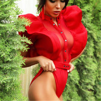 New Fashion Red Ruffles Bodysuit Women