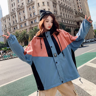 Women spring new Casual Hooded splicing Button loose short plus size coat women's jackets