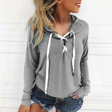 2020 Spring New Sexy Long-sleeve V-neck Woman Hoodies and Sweatshirt