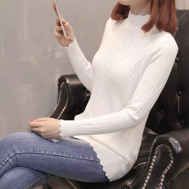 Sweater Women New Fashion Half-Turtleneck Knitted Pullover Slim Large Size