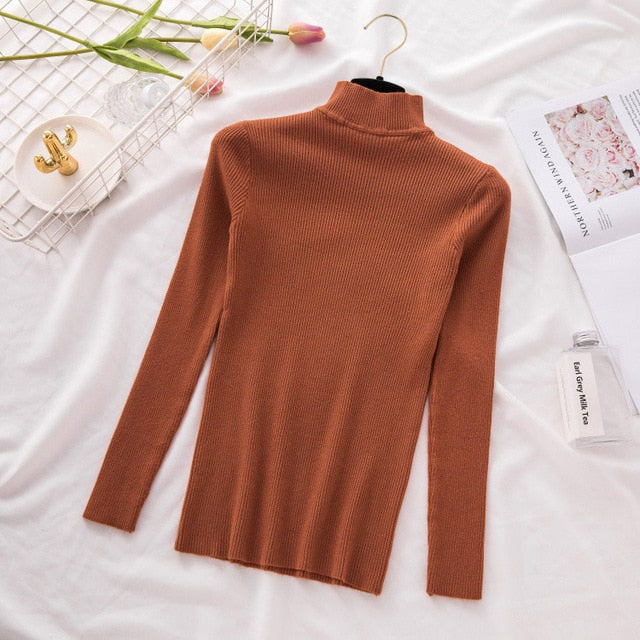 New Turtleneck Knitted Sweater Female Casual Pullover Women