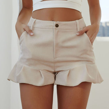 Summer new women solid color simple daily wild shorts