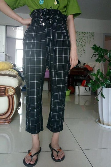 New spring summer casual lace up ankle-length pants women's plaid loose harem