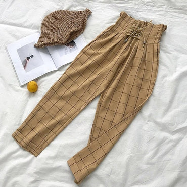 LLYGE Harajuku Checked Women's Trousers Plaid High Waist Wide Leg