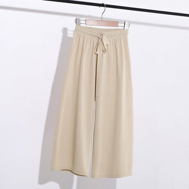 summer new Korean ice silk wide leg pants female high waist loose harem flare pants casual