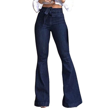 Women High Waist Bandage Wide Leg Denim Jeans