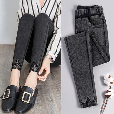 Lace Skinny Jeans Woman New Autumn Fashion Boyfriend