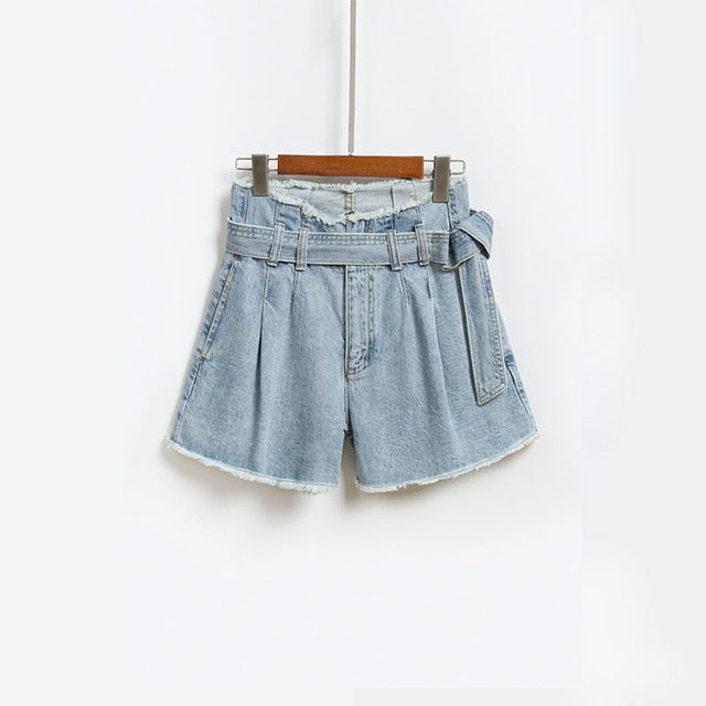 New Denim Shorts Women Summer High Waist