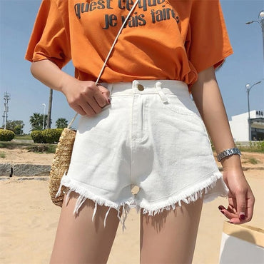 New Denim Shorts Women Cowboy Tassel Pockets High Waist