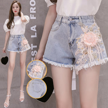 2020 Summer New Denim Shorts Women's Heavy Industry Pink Stereo Flower Wide Leg