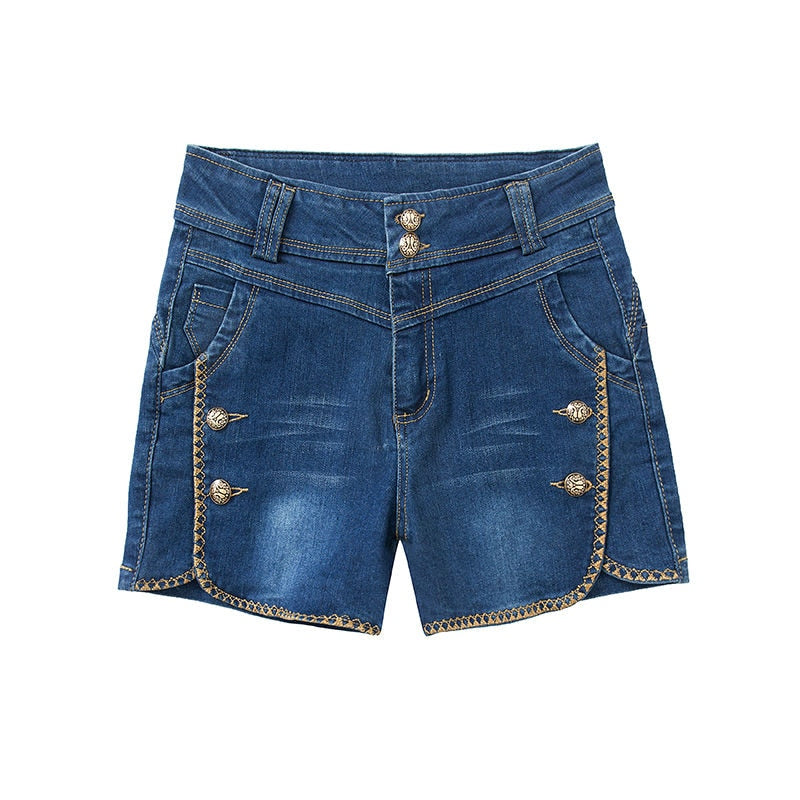 New denim shorts women's summer wear elastic high waist
