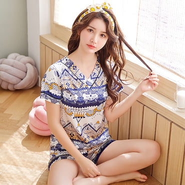 New Women Sleepwear Set 2020 Summer Pajamas V-neck