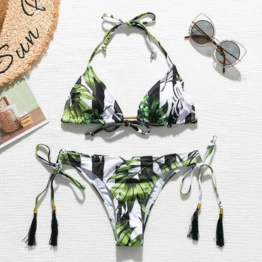 Brazilian bikini thong 2020 Leaves print bathing suit Tassel swimwear women