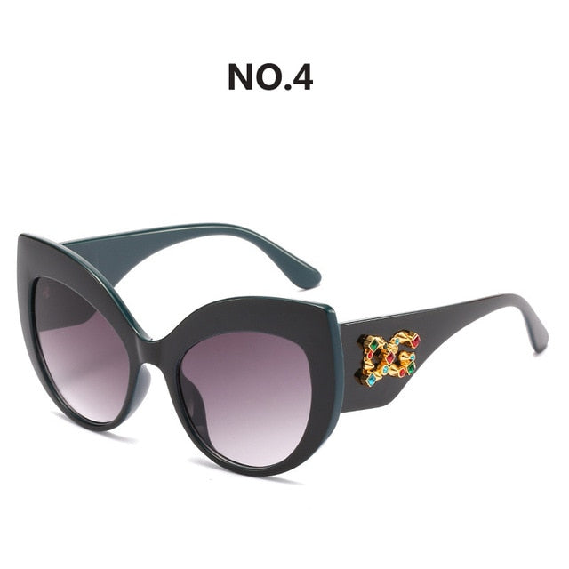 2020 New Fashion Oversized Cat Eye Sunglasses Women