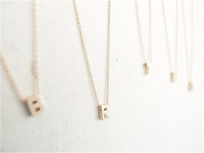 Tiny gold  initials name necklaces - GaGodeal