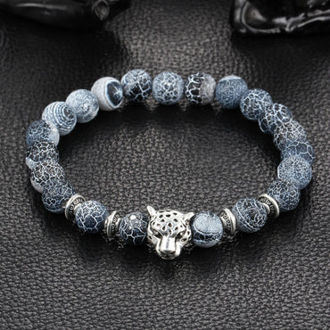 Silver Plated Buddha Leopard Head Bracelet Lava Natural Stone