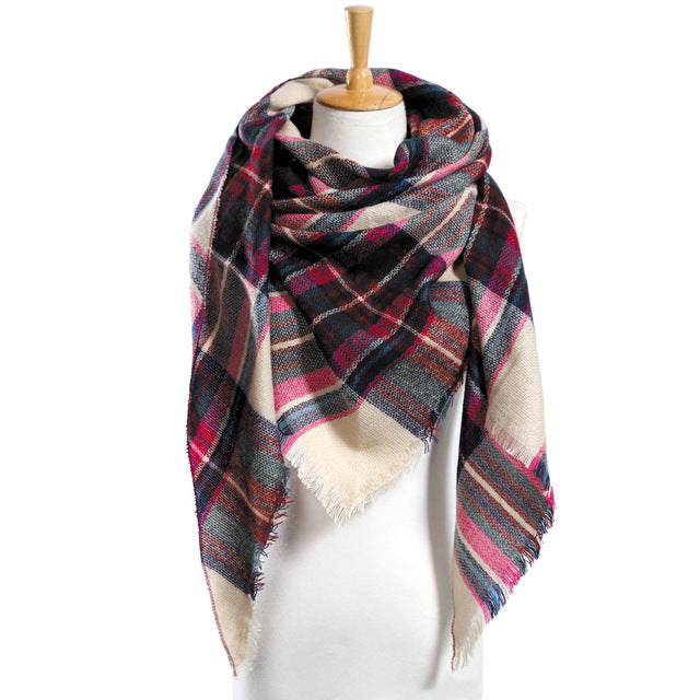Scarf Plaid Scarf Acrylic Basic