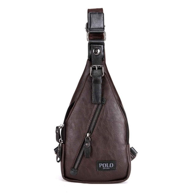 VICUNA POLO Theftproof Magnetic Button Open Leather Bag