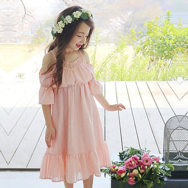 New Fashion Cotton Lace Stitching Girl Dress